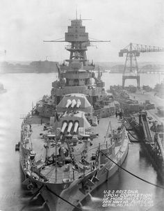 Bow view of the USS Arizona in the Norfolk Naval Shipyard in Portsmouth Virginia in March 1931 following a modernization.