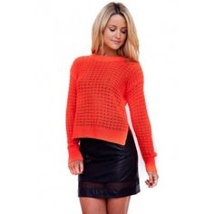 Radioactive Neon Orange Knit Jumper by Paint It Red Cardigans For Women, Boat Neck, Jumper, Turtle Neck, Neon, Warm, Paint, Orange, Knitting