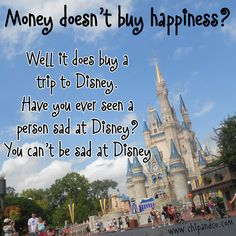 Money does buy happiness because it pays for a Disney vacation.