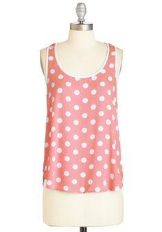 I Dot as Much! Top in Coral. You predicted that this polka-dotted tank would exude the effortless charm you adore - and right you were! #coral #modcloth