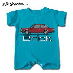 Volvo 240 Brick Baby Romper +++ Artsmoto.com