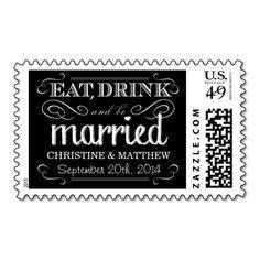 Chalkboard Wedding Eat Drink be Married Postage