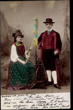 Postcard Französische Volkstrachten, Spinnrad, Frau und Mann 1904