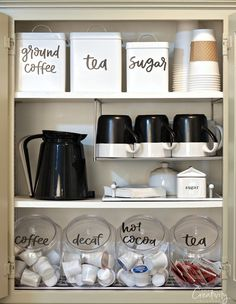 Coffee Cabinet with Printable Labels Use our hand lettered free printable pantry labels to create an organized coffee cabinet and pantry.Use our hand lettered free printable pantry labels to create an organized coffee cabinet and pantry. Kitchen Ikea, Kitchen Corner, Kitchen Storage, Kitchen Decor, Kitchen Design, Kitchen Pantry, Kitchen Cabinets, Pantry Storage, Kitchen Sink