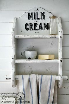 Milk and Cream Co. Image Transfer on Wood Kitchen Shelf via Knick of Time…