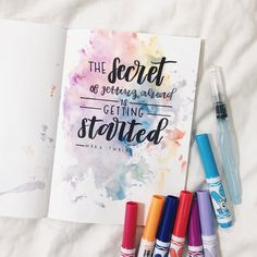 A beautiful, powerful quote that is so relevant to bullet journals!!! If you don't get started, you won't be productive!!! Very inspirational and motivational to use as a theme for your bujo. Also, gorgeous watercolor background!