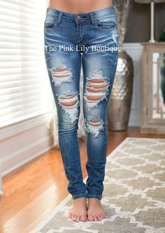 We now have these new medium distressed jeans to go with your fall outfits! Distressed denim skinny jeans will match everything, and have just enough stretch to wear all day.