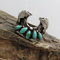 Sterling Turquoise Ring Unique Leaf Design by PurpleDaisyJewelry