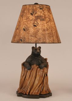 Bear in Stump Table Lamp