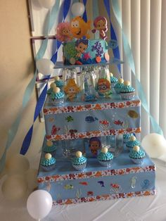 Bubble guppies cake tower