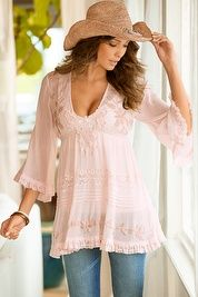 &90 Wear with Satin shorts! Romantic beaded tunic top