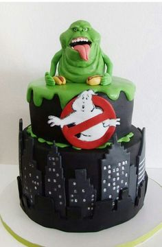 Enjoyable Cake Toppers Ghostbusters Theme Original Onto Edible Real Icing Funny Birthday Cards Online Alyptdamsfinfo
