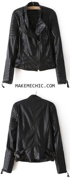 Black Long Sleeve Zipper PU Leather Jacket
