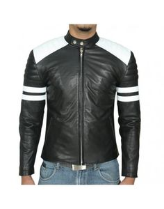 Drivers Black White Stripes Motorcycle Leather Jacket | Christmas ...