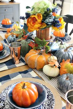 Loads of pumpkins, cozy navy hues and hints of copper complete this Copper and Navy Fall Farmhouse Tablescape Thanksgiving Table Settings, Thanksgiving Tablescapes, Thanksgiving Decorations, Seasonal Decor, Table Decorations, Blue Fall Decor, Fall Home Decor, Autumn Home, Autumn Tea