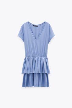 RUFFLED DRESS   ZARA Ireland Lunch Outfit, Zara Dresses, Zara Women, Ruffle Dress, Cap Sleeves, Elastic Waist, Short Dresses, V Neck, Casual