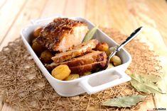 Lombo de porco no forno com cebolinhas novas e batatinhas