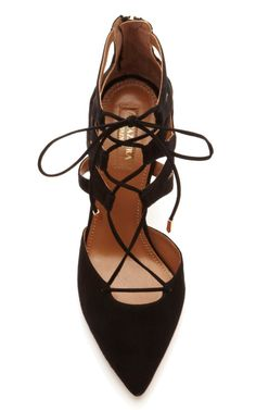 { aquazurra } black suede lace up pump