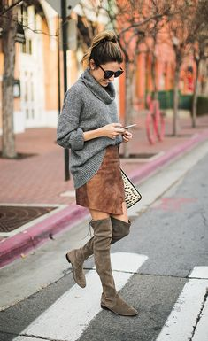 Leather Zip Mini Skirt, Oversized Cowl-neck Sweater, Over Knee Boots, Leopard Clutch