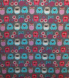 Snuggle Flannel Fabric-Little Owls