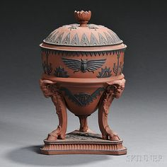 Wedgwood Rosso Antico Egyptian-style Tripod Vase and Cover