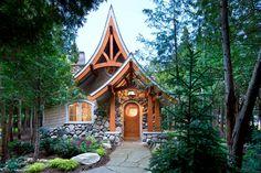 Cabană de vis în suprafață de 77.48 mp cu accente din stilul architectural Tudor.