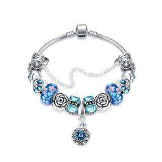 42017a318 Royal Sky Blue Petite Emblem Pandora Inspired Bracelet Made with Swarovski  Elements