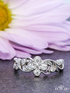 Diamond Blossom Engagement Ring ~ #GreenLakeJewelry