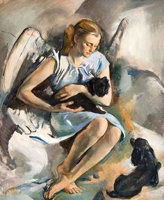 Alice Kent Stoddard  1883–1976  The Puppies' Angel,Date unknown  Oil on canvas  Gift of Samuel David,  A well-known society portraitist and avid animal lover