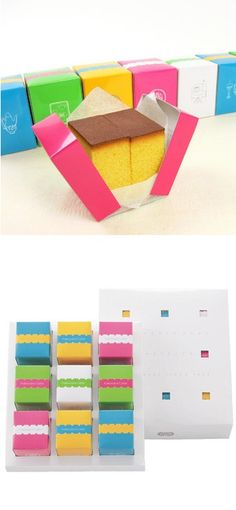 Here you go Iveta different colors Japanese sponge cake, Castella. PD