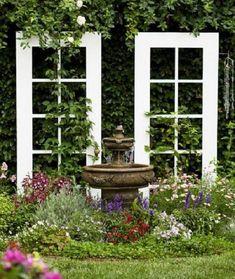 What a great idea for a trellis. What a great idea for a trellis. What a great idea for a trellis. Old French Doors, Old Doors, Sliding Doors, Diy Trellis, Garden Trellis, Trellis Ideas, Garden Hedges, Herbs Garden, Fruit Garden