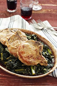 Miso Pork Chops and Collard Greens