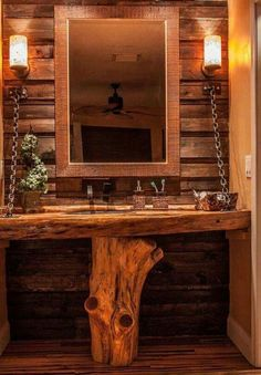 Pallet Furniture Here is a custom bathroom vanity I built with a cedar base holding up cypress live edge counter top with hammered copper sink and pallet wood wall and onyx light fixtures Rustic Bathroom Designs, Rustic Bathroom Vanities, Rustic Vanity, Wood Vanity, Bathroom Mirrors, Cabin Bathrooms, Rustic Bathrooms, Wood Pallets, Pallet Wood