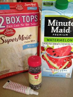 Watermelon Cupcakes!! Follow the directions on the box, except use the Minute Maid Watermelon juice instead of water. Add pink food color. After mixed add the sprinkles to act like the seeds! :-) By Amber Risk*