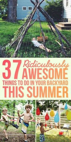 37 Ridiculously Awesome Things To Do In Your Backyard This Summer - Great kids activities for outdoor fun this summer! 37 Ridiculously Awesome Things To Do In Your Backyard This Summer Summer Activities For Kids, Summer Kids, Toddler Activities, Party Activities, Party Summer, Party Games, Preschool Family, Family Outdoor Activities, Diy Games