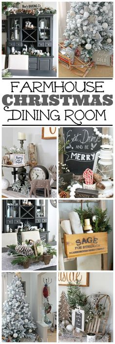 Beautiful neutral Christmas dining room with a farmhouse feeling. Lots of Christmas decorating ideas to add that soft, winter's touch.