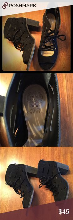 """NWT Vince Camuto Black Sandals, Chunk Heel, Sz 12 Great pair of NWT Vince Camuto black lace-up chunk heel sandals. Never worn, originally purchased from Nordstrom for $78. Heel is 3"""" height. Vince Camuto Shoes Sandals"""