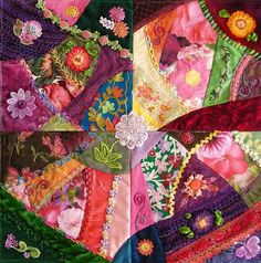 "Crazy quilting . . . Allie's in Stitches: projects: 16"" Sampler- I like this size for a quick romp in my crazy quilting world. This piece grew alongside the Granddaughters' Flower Garden project...just a different take altogether on what you can do in a 16"" X 16"" square. I just wanted to play..... ;-) It's not done yet but it's close. Big stitches and lots of trim speed things up, too..."