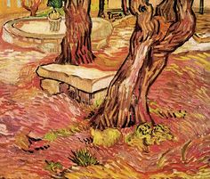 Vincent van Gogh. The Stone Bench in the Garden of Saint-Paul Hospital