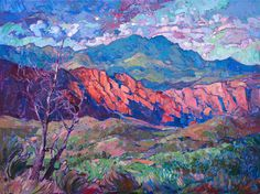 Kayenta, Ivins Utah, a beautiful Red Rock landscape captured in vivid oils and painterly brush strokes by artist Erin Hanson.
