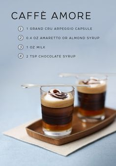 Treat your sweetheart to a hand-crafted gourmet coffee with this indulgent Caffè Amore recipe from Nespresso. Seductive almond and rich chocolate swirl together with the unique flavor of Arpeggio Grand Cru. This sweet drink is the perfect way to show your loved one how much you care.