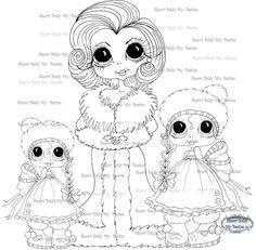 Téléchargement instantané numérique Digi Stamps ventru grosse tête poupées Digi mon - Noël Besties mère et ses filles par Sherri Baldy