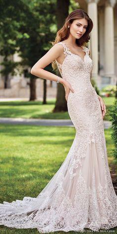 david tutera mc spring 2017 bridal lace strap sweetheart neckline heavily embroidered bodice elegant fit and flare wedding dress illusion back chapel train (117273) mv