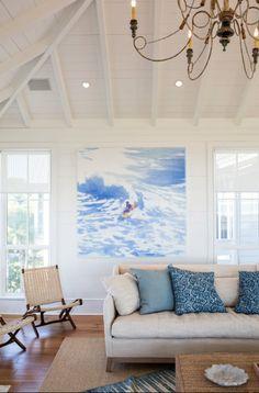 large scale surfer watercolor art