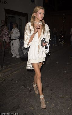 Model moment: Stella Maxwell proved that she can be just as enchanting off the catwalk as she turned heads at the after party for Rihanna's Fenty X Puma show in Paris on Wednesday
