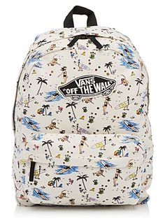 - Vans at Simons - Ultra charming pastel print over a backdrop reminiscent of tropical sands - Small zip pocket at the front - Zip on top - Adjustable straps - Height: 18&quote; - Length: 14.5&quote; - Width: 5&quote;