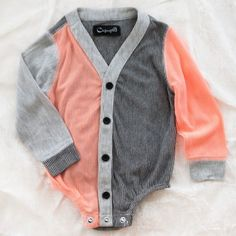 Cardigan onesie. TOO CUTE