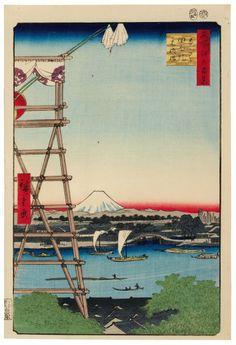 Utagawa Hiroshige, Ekōin Temple in Ryōgoku and Moto-Yanagi Bridge, (Meisho Edo Hyakkei - One Hundred Famous Views of Edo, no. 5), 1857