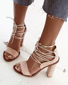 #summer #trending #shoes | Nude Laced Up Heels