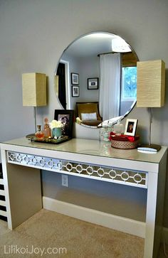 Dressing Table Gets a Makeover - mirror sheets and overlay from curtain rings. Great idea!